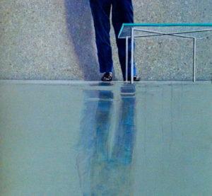 Zelfportret met Mies van der Rohe tafel
